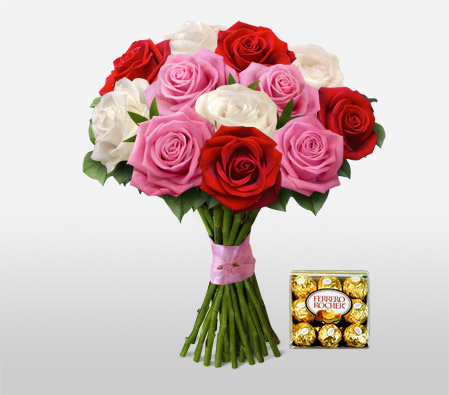 Sweet Love <Br><Font Color=Red>12 Roses & Free Chocolates </Font>