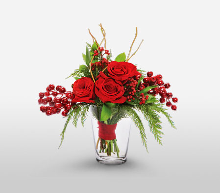Romance Roses <Font Color=Red>Rose Arrangement in a Vase - Sale $20 Off </Font>