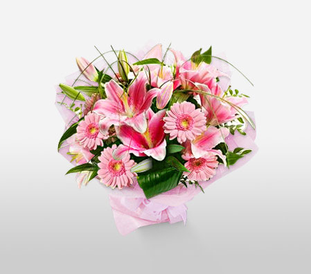 Indulgent Opulence<Br><Font Color=Red>Pink Flowers Bouquet</Font>