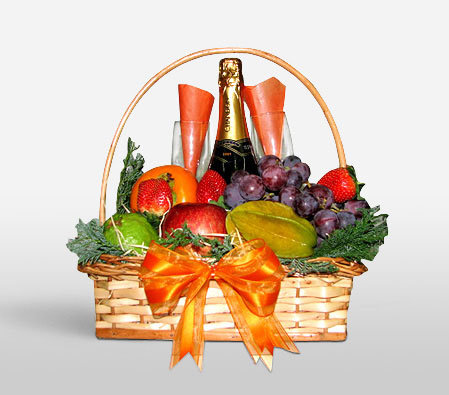 Fruits And Champagne Basket