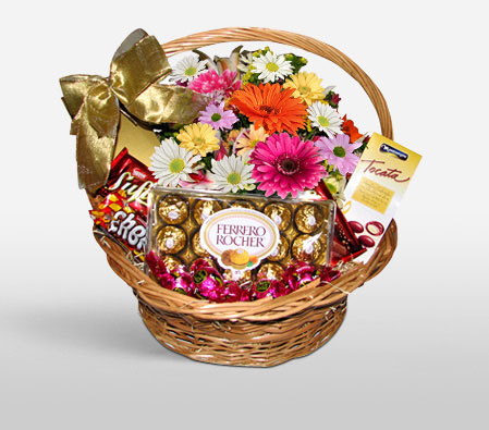 Chocolates And Flowers Basket