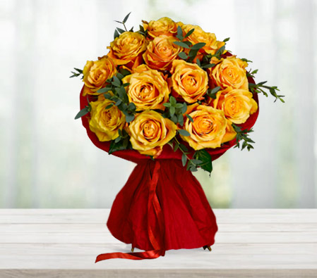 Orange Gleam <Br><Font Color=Red>One Dozen Roses</Font>