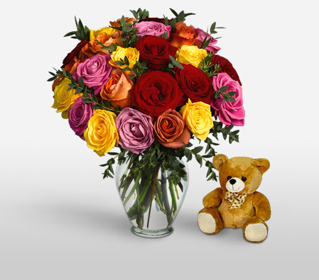 Marvel 24 Assorted Roses <br><font color=red>Free Teddy bear</font>