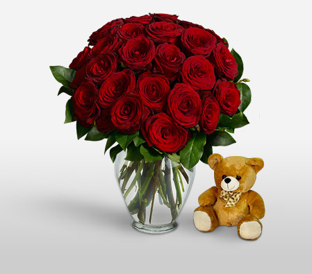 24 Red Roses <br><font color=red>Free Vase And Teddy</font>