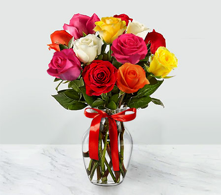 Arcobaleno <Br><Font Color=Red>12 Mixed Roses <Br> Sale $10 Off</Font>