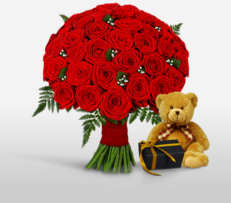50 Red Roses with Teddy & Chocolates