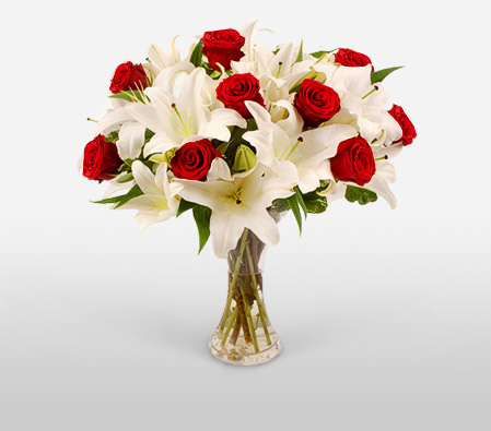 Fire Amp Ice Red Roses And White Lilies In A Vase For