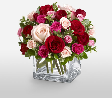 Abundance of Love<Br><Font Color=Red>Mixed Color Roses Arrangement</Font>