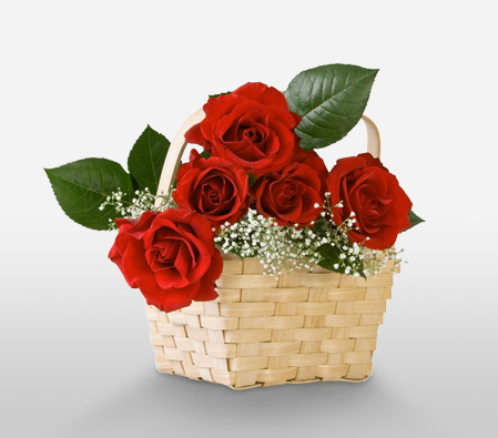 Regal Ecstasy - 6 Red Roses in Basket