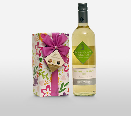 Wine With Gift Wrapped Chocolates <Font Color=Red>Sale $20 Off </Font>