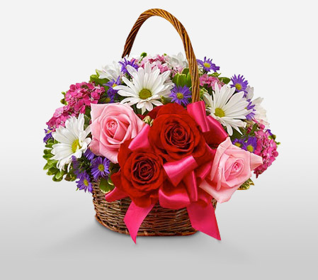Floral Basket-Pink,Purple,Red,White,Chrysanthemum,Rose,Basket