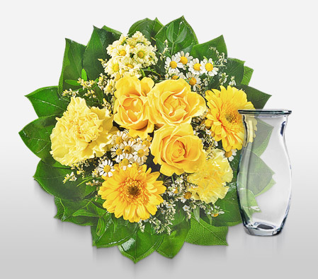 Yellow Bells <Br><Font Color=Red>Free Glass Vase </Font>