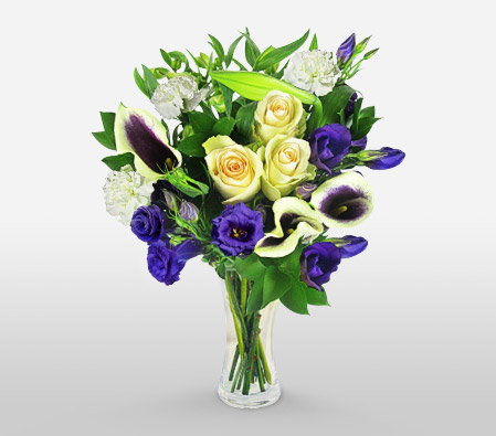 Delightfully Fascinating-Green,Purple,White,Lily,Rose,Bouquet