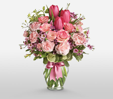 Pink Sensation-Green,Pink,Tulip,Carnation,Rose,Arrangement,Bouquet