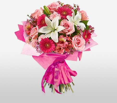 Pink charm mixed pink flowers bouquet sending flowers online pink charm mixed flowers bouquet mightylinksfo