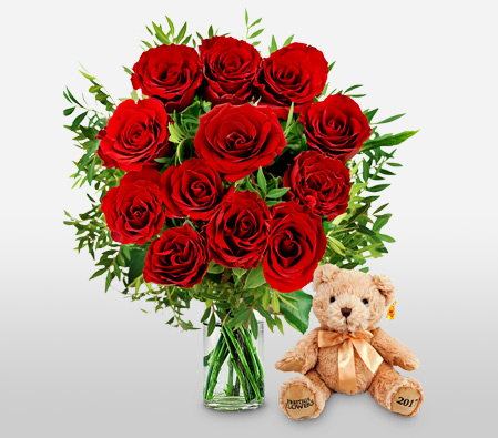 Valentine Combo <Font Color=Red>Red Roses And Bear</Font>