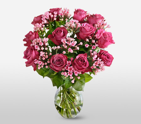 Rosy Love <Br><Font Color=Red>Pink Flowers Bouquet</Font>