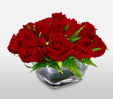 Royal Magic - 20 Red Roses-Red,Roses,Vase,Anniversary,Fillers