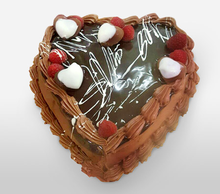 Heart Shaped Chocolaty Fusion Cake - 35oz/1kg-Cake,Birthday,Anniversary,Chocolate,Cream