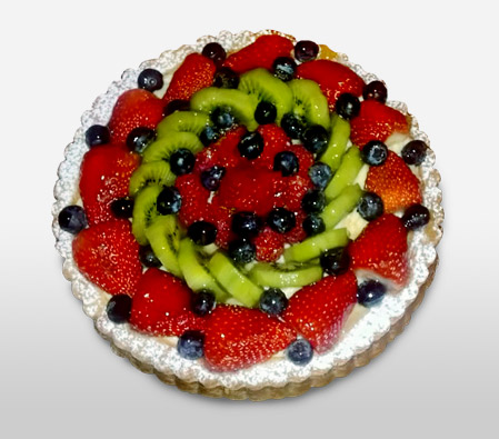 Mixed Fruit Punch Cake - 35oz/1kg-Cake,Birthday,Kiwis,Berries,Cream