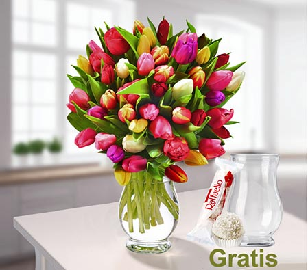 Classy Tulips <br><font color=red>Vase & Chocolates Free</font>