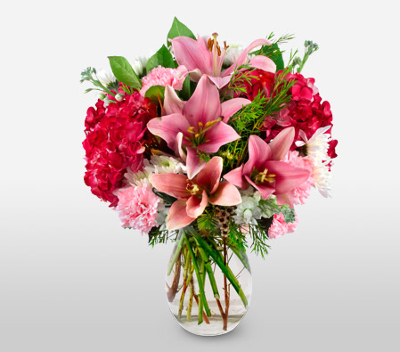 Delightful Dream <font color=Red>Pink Lilies & Carnations</font>