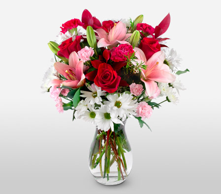 Magical Mix <font color=Red>Roses, Lilies & Carnations</font>