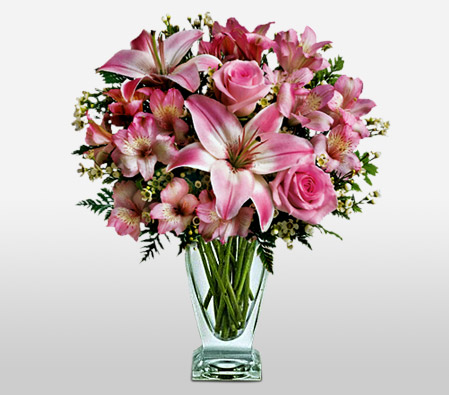 Roses And Lilies In Vase