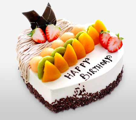 Birthday Fruit Chocolate Cake