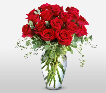 Red Roses In Ming Vase