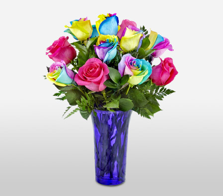 Luxury Rainbow Roses - 12 Stems