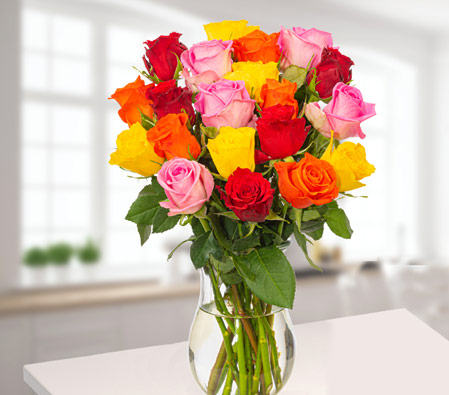 Mixed Colored Roses In A Bunch