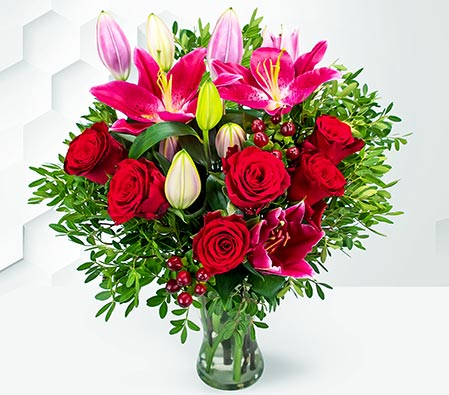Be Mine Romantic Bouquet-Rhodos red roses and stargazer lilies with handmade british truffles