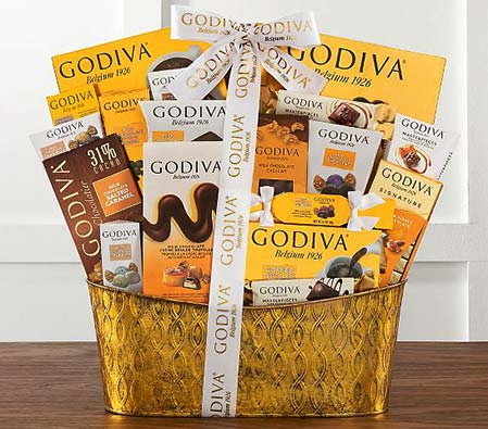 Golden Godiva Chocolate Gift Basket
