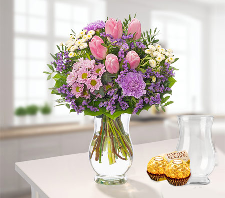 Springtime Flower Bouquet with vase