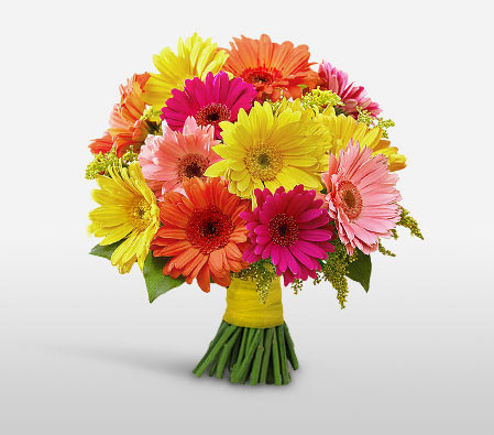Gerbera Goodness-Mixed,Orange,Peach,Red,Yellow,Gerbera,Daisy,Bouquet,Flowers
