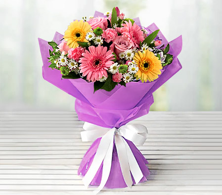 Cute Blush - Birthday Flowers-Mixed,Pink,White,Yellow,Rose,Mixed Flower,Gerbera,Daisy,Carnation,Bouquet