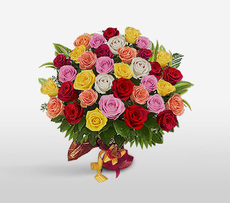Dali-Mixed,Orange,Pink,Red,White,Yellow,Rose,Bouquet