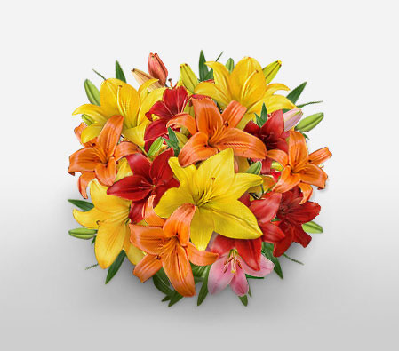 Botanical Delight - Mixed Asiatic Lilies-Mixed,Orange,Red,Yellow,Lily,Bouquet