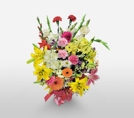 Birthday Celebrations-Mixed,Orange,Pink,Red,White,Yellow,Carnation,Gerbera,Lily,Mixed Flower,Bouquet