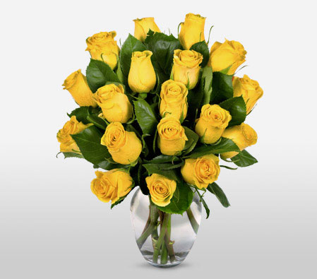 Roses In Yellow <Br><Font Color=Red>One Dozen Roses</Font>