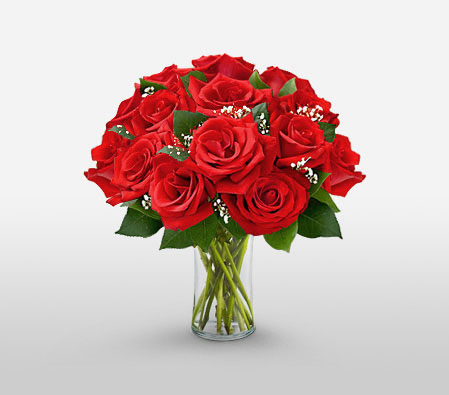 12 Cherry Red Roses <Font Color=Red> 1 Dozen Roses In A Vase Sale $5 Off</Font>