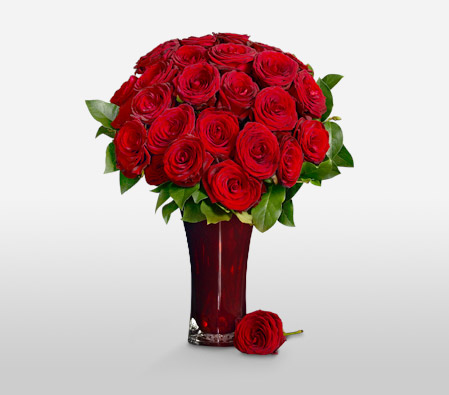 Romane Conti<br>24 Long Stem Roses<br><font color=red>$20 Off & Free Ruby Vase</font>