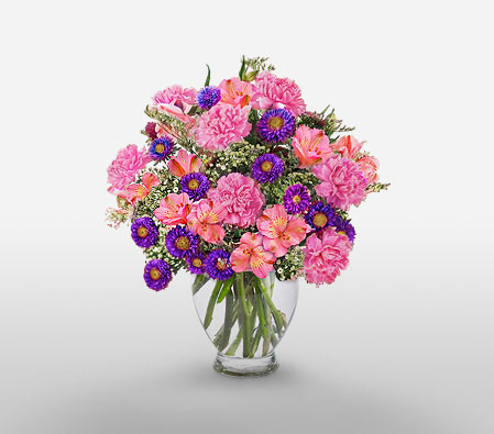 Purple Passion - Mixed Arrangement-Pink,Purple,Carnation,Alstroemeria,Arrangement