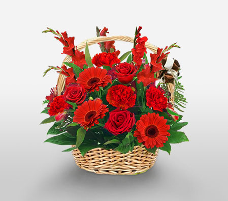 Glowing <Br><Font Color=Red>Red Flowers in Basket</Font>