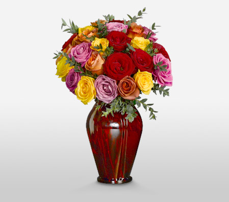 Marvel 24 Assorted Roses<br><font color=red>Sale $10 Off <br>Free Ruby Vase</font>