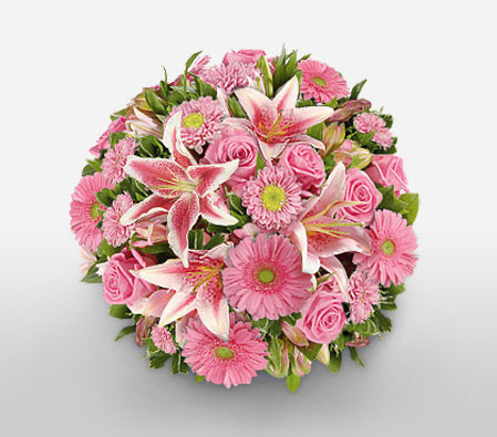 MUMbelievable-Pink,Rose,Mixed Flower,Lily,Gerbera,Bouquet