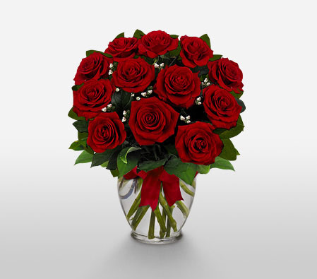 Dozen Roses In A Vase <Font Color=Red>Sale! $5 Off</Font>