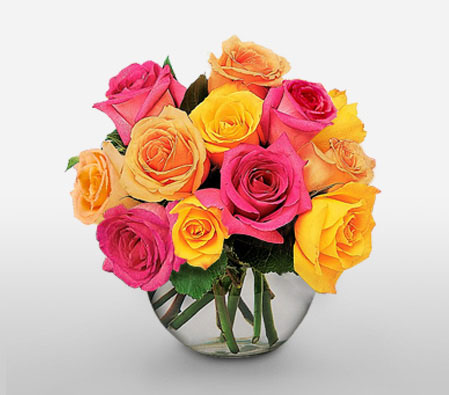 12 Coral And Yellow Roses<Font Color=Red> 12 Mixed Roses & Complimentary Vase</Font>