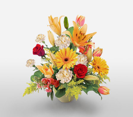 Heavenly Exotic-Mixed,Orange,Red,White,Tulip,Rose,Mixed Flower,Lily,Gerbera,Carnation,Arrangement